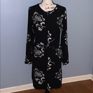 MERONA black white sheath dress button up MED